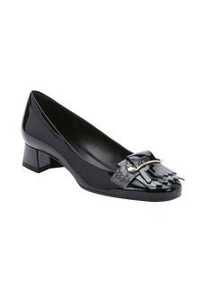 Tod's grey and black patent leather loafer heels
