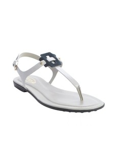 Tod's grey and blue leather anklestrap sandals