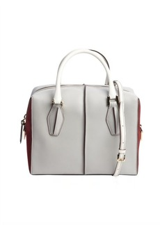 Tod's grey and burgundy colorblock leather convertible bag