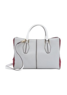 Tod's grey and white leather 'D Cube' small shopping bag