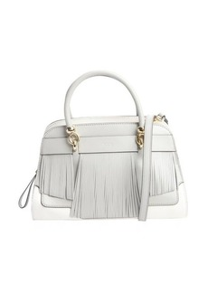 Tod's grey and white leather fringed small handbag