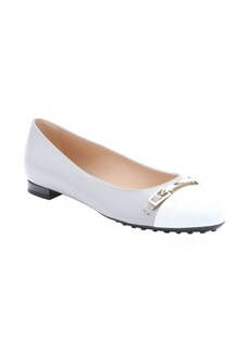 Tod's grey and white leather horsebit detail cap toe ballerina flats
