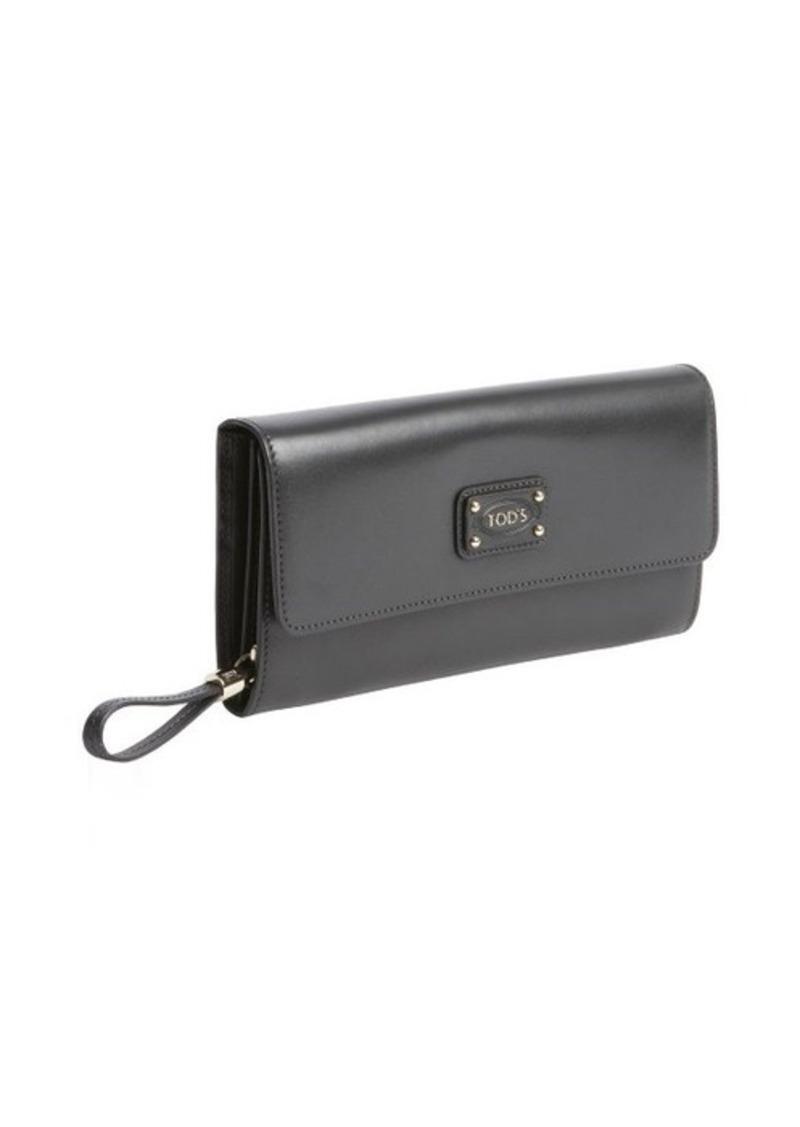 Tod's grey calfskin multi-card continental wallet