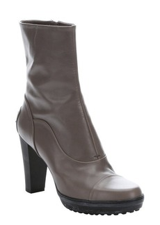 Tod's grey leather side zip ankle boots
