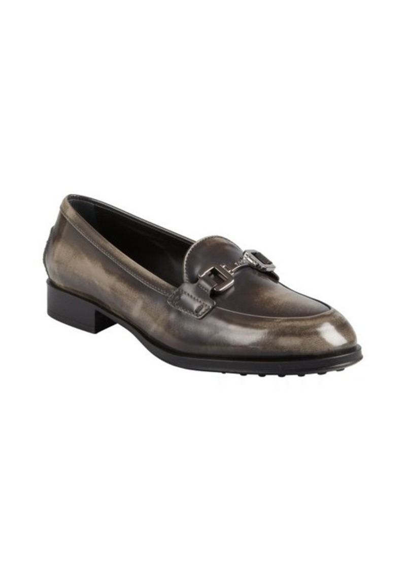 Tod's grey ombre polished leather horsebit buckle loafers