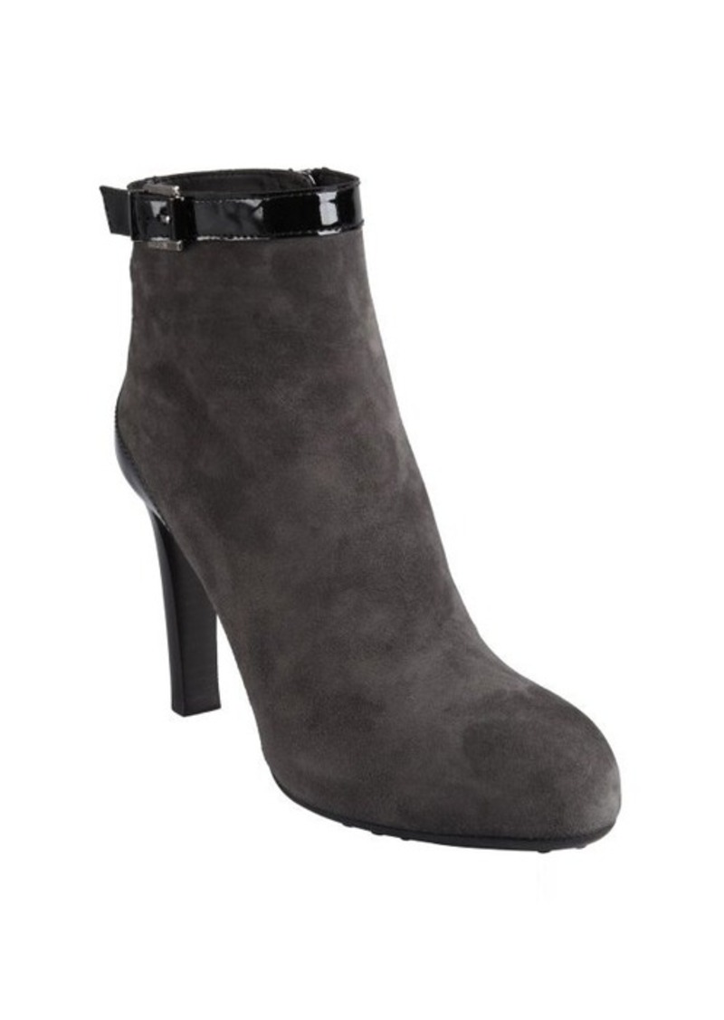 Tod's grey suede and patent ankle strap booties