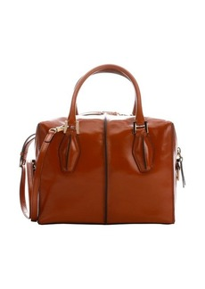 Tod's honey brown patent leather small convertible top handle bag