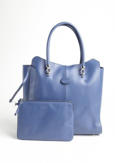 Tod's imperial blue leather logo stamp top handle large tote