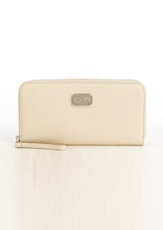 Tod's ivory leather logo plaque zip continental wallet