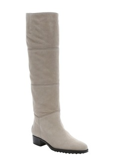 Tod's ivory suede pull-on knee-high boots