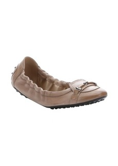 Tod's khaki leather horsebit elasticized ballerina flats