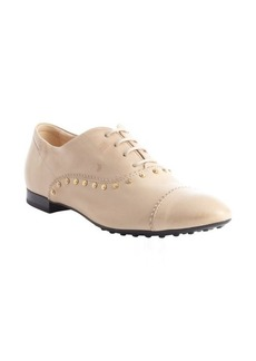 Tod's khaki leather studded oxfords