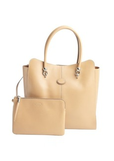 Tod's khaki leather tote and zip pouch
