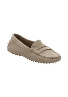Tod's khaki suede moc toe penny loafers