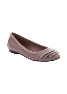 Tod's lavender leather studded fringe ballet flats