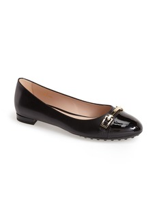 Tod's Leather Cap Toe Ballerina Flat (Women)