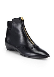 Tod's Leather Front-Zip Ankle Boots