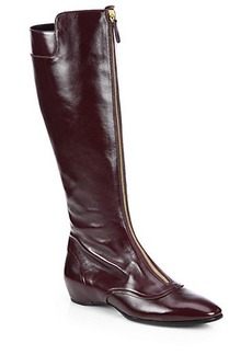 Tod's Leather Front Zip Knee-High Boots