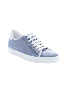 Tod's light blue leather trimmed metallic suede lace-up sneakers
