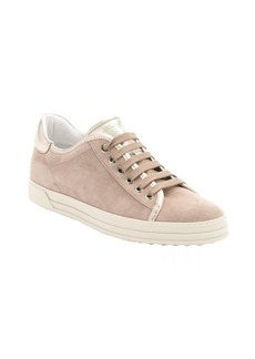 Tod's light brown and metallic gold leather and suede lace-up sneakers