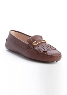 Tod's light brown leather 'Heaven Frangia Spilla' loafers