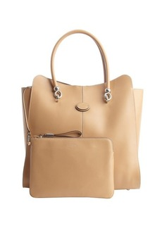 Tod's light brown leather logo stamp top handle large tote