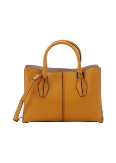Tod's light mango leather structured shopper tote