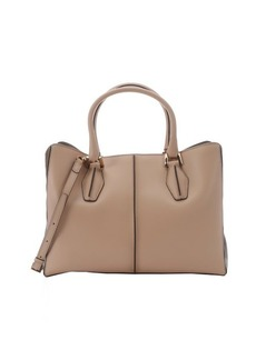 Tod's light tobacco leather 'D-Cube' medium shopping tote