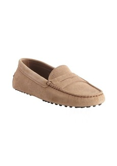 Tod's light tobacco suede penny loafer moccasins