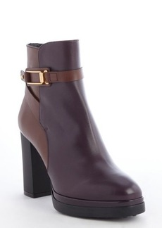 Tod's mahogany and eggplant leather heel ankle boots