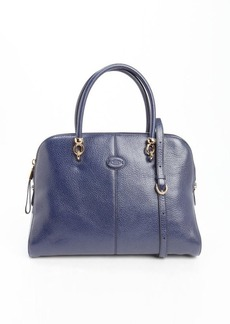 Tod's marine blue leather large top handle tote