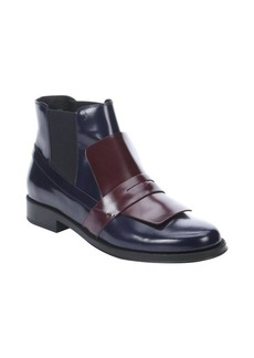Tod's maroon and navy leather loafer slip-on chelsea booties