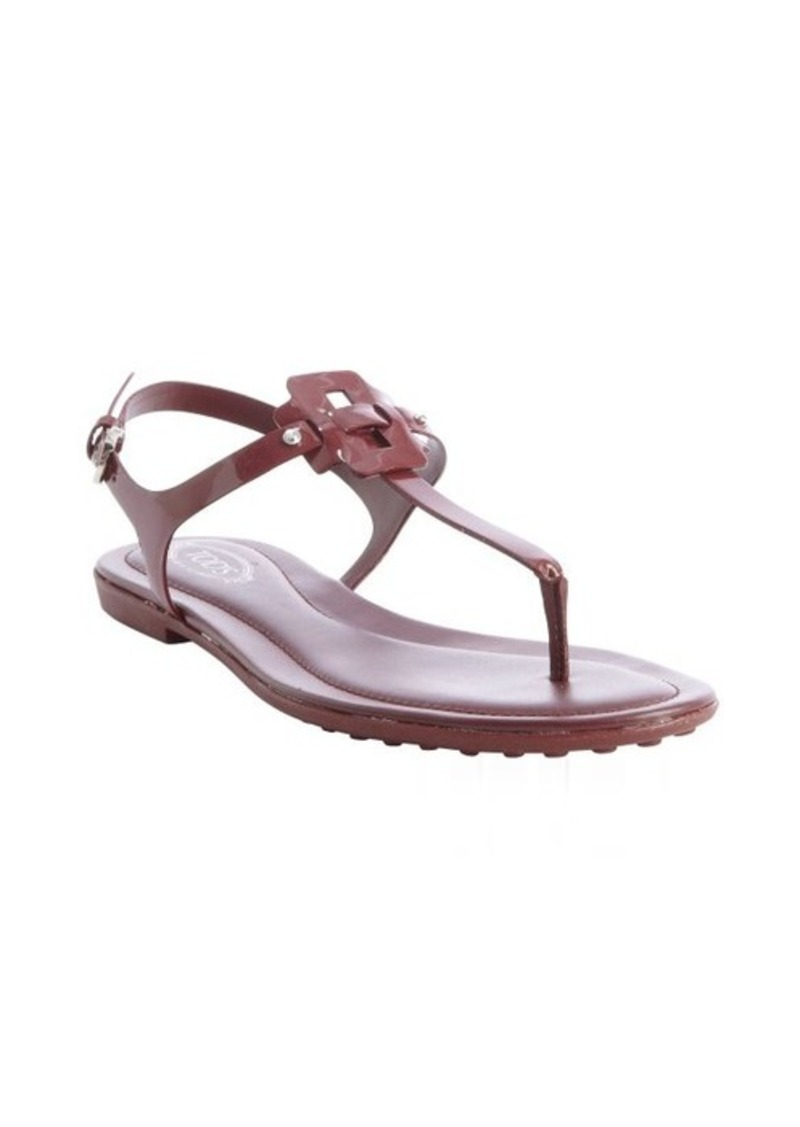 Tod's maroon leather anklestrap sandals
