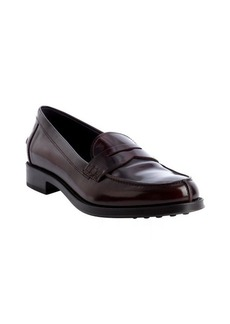 Tod's maroon patent leather penny loafers