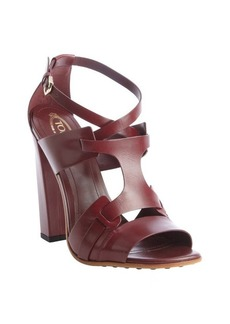 Tod's maroon strappy leather heel sandals