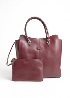 Tod's merlot leather logo stamp top handle large tote