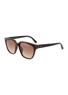 Tod's Metal-Trim Square Plastic Havana Sunglasses