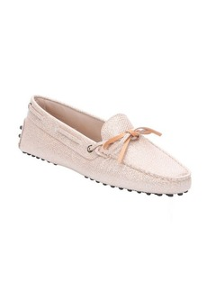 Tod's metallic nude fabric bow tie detail slip-on driving loafers