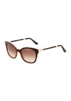 Tod's Modified Cat-Eye Tortoise Acetate Sunglasses