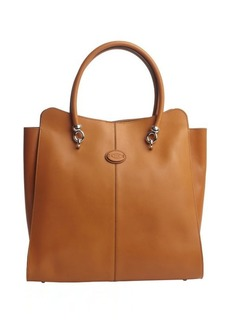 Tod's mustard leather logo stamp top handle large tote