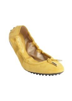 Tod's mustard suede tasseled ballet flats