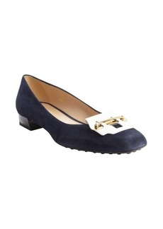 Tod's navy and white suede metal strap detail block heel pumps