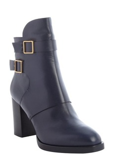 Tod's navy leather double buckle detail boots