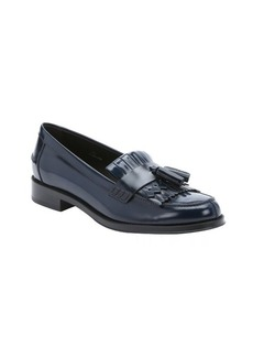 Tod's navy leather fringe and tassel moc toe loafers