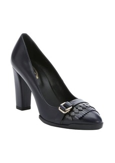 Tod's navy leather fringe buckle detail pumps