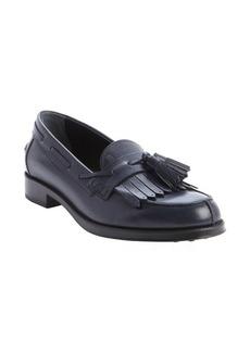 Tod's navy leather fringe tassel slip-on loafers