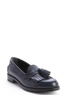 Tod's navy leather fringe tassel slip-on loafers