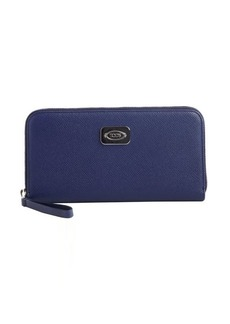 Tod's navy leather logo plaque zip continental wallet