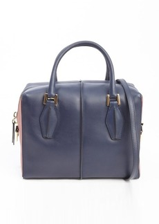 Tod's navy leather small top handle tote