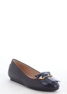 Tod's navy leather tassel detail flats